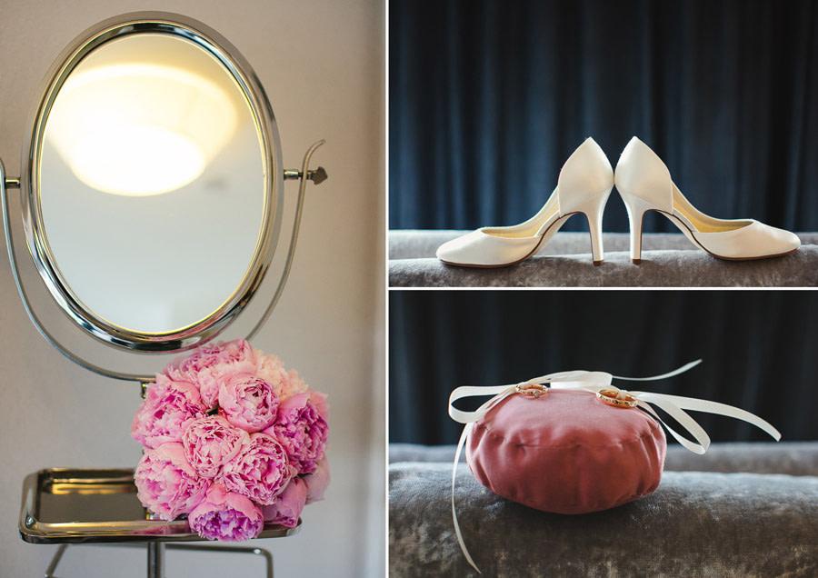 Collage aus drei Hochzeitsfotos jeweils von den Hochzeitsringen auf dem Ringkissen, Hochzeitsschuhen und dem Brautstrauß neben einem Spiegel.