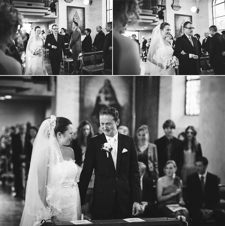 Collage aus 3 Bildern auf dem Hauptfoto weint der Bräutigam berührt beim Anblick seiner wunderschönen Braut