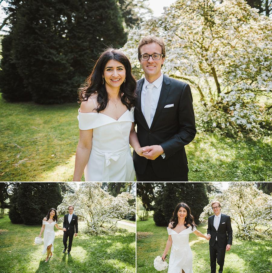 Brautpaar und Frühlingskulissen im Schlosspark
