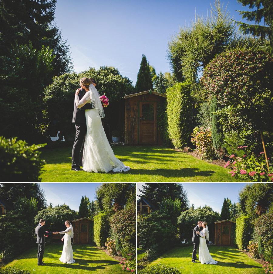 Braut und Bräutigam sehen sich zum ersten Mal vor der Trauung zu Hause