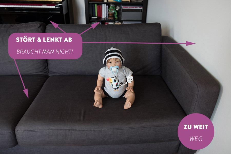 Baby von zu großer Entfernung fotografiert