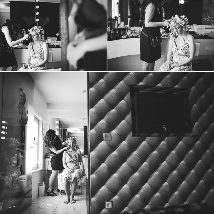 Fertigmachen Braut in der Hochzeitssuite namens Marilyn Monroe wo die bekannte Schauspielerin an der Glastür abgebildet ist